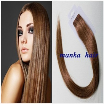 "Remy Human Hair Extensions Super Tape in Skin Weft Hair- 20"" Chestnut Brown"