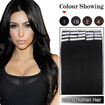 Remy Human Hair Extensions Super Tape in Skin Weft Hair- Jet Black