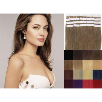 Remy Human Hair Extensions Super Tape in Skin Weft Hair- Light Golden Brown