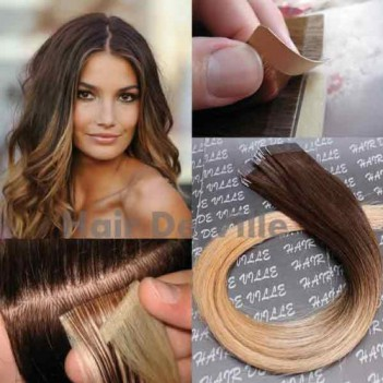 "20"" inches Ombre Tape weft Human Hair Extensions- Brown Mix Strawberry Blonde"