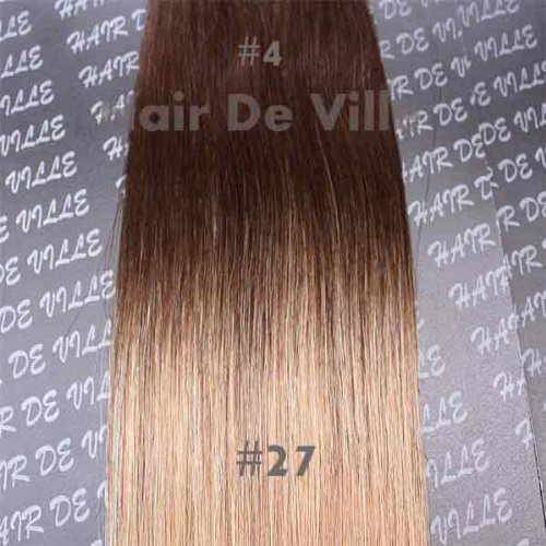 20 Inches Ombre Tape Weft Human Hair Extensions Brown